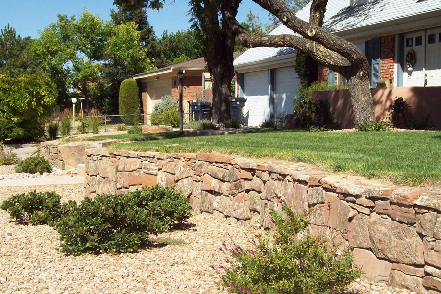 Residential Landscaping Albuquerque : Residential landscaping stone terraced front yard qualifies for