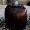 Flagstone entry with pot fountain